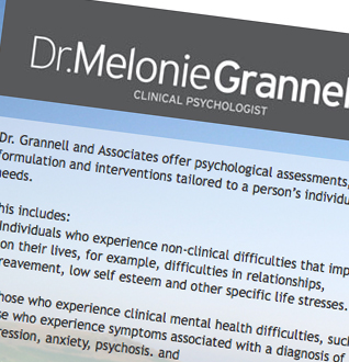Dr. Melonie Grannell Psychology Web Design Project